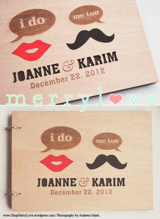 MerryLove Lip & Stache Wedding Guest Book