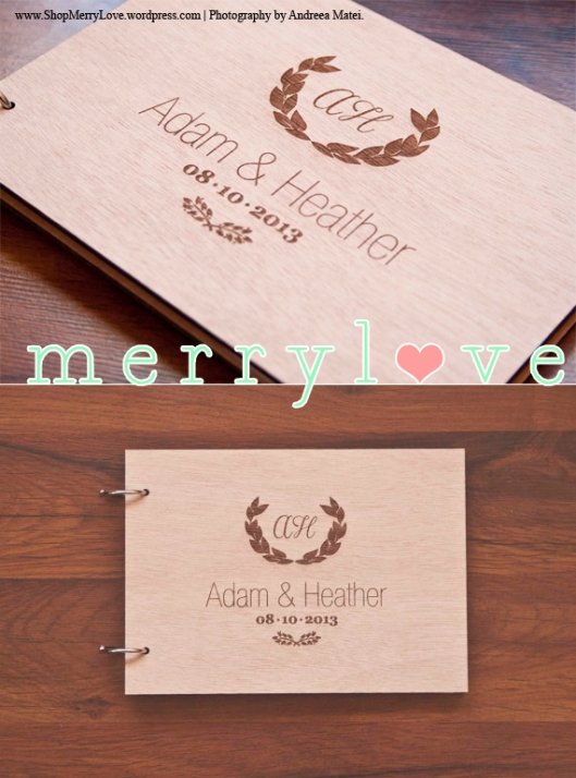 MerryLove Monogram Wedding Guest Book
